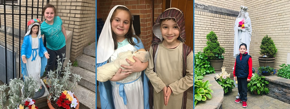 students with Mary statues and dressed as Mary and Joseph